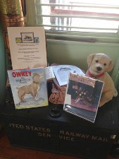 An exhibit for Owney, a famous dog that rode on U.S. Postal mail cars